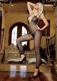 7289035 SEAMLESS CROCHET FOOTLESS LOW BACK BODYSTOCKINGS O/S